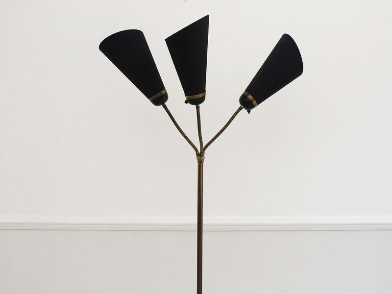 A 1950's French Three Head Standing Lamp with Black Detailing