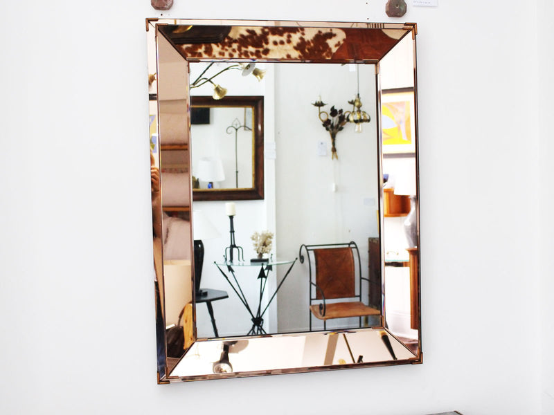 A 1940's French Amber Double Framed Mirror