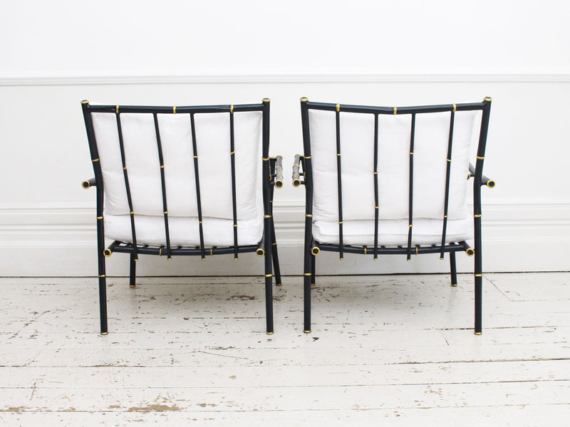A Fine 1950's French Faux Bamboo Painted Metal Suite