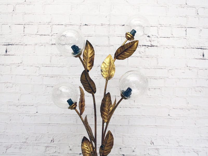 1950's Four Arm Gold Flower Floor Light with Glass Globes