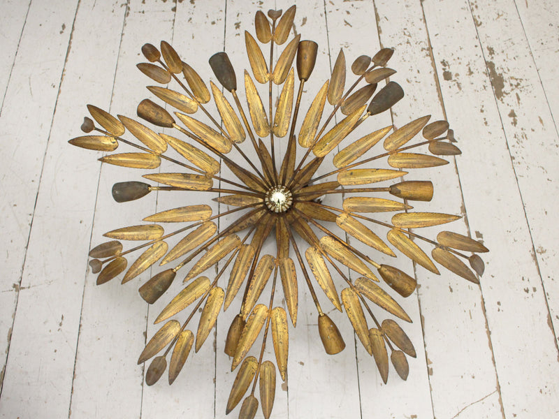 A Large 1950's Gilt Metal Palm Leaf Ceiling Light by Ferro Art