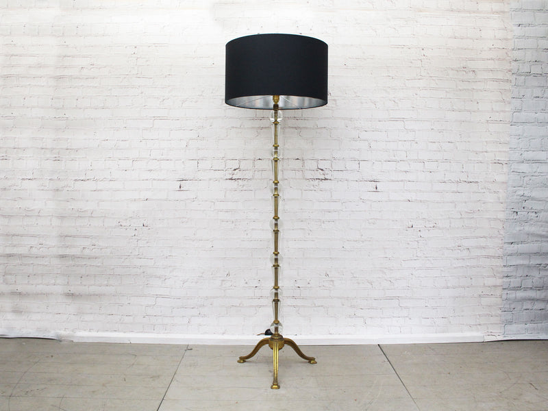 1950's French Glass and Brass Floor Light with Black Shade