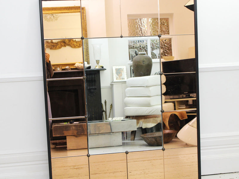 A Large Mid Century French Mirror with Amber Mirror and Ebonised Surround