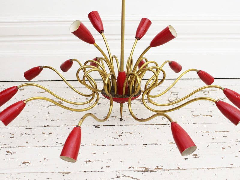 A Very Large Mid Century Italian Sixteen Arm Chandelier in the style of Stilnovo