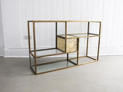 A 1970's Italian Brass, Chrome, Mother of Pearl & Glass Console Table