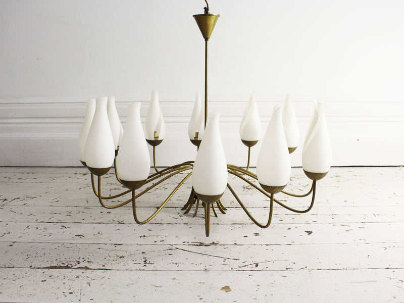 A Mid Century Italian 12 Arm Pendant Light with Original Glass Shades