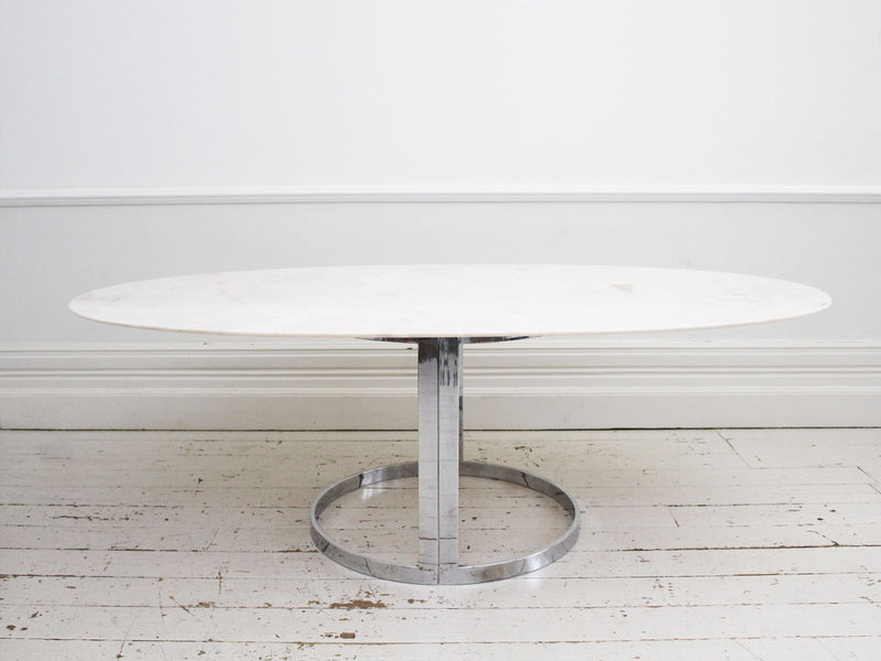 1970's Italian Oval Dining Table with Rosa Marble Top with Chrome Base