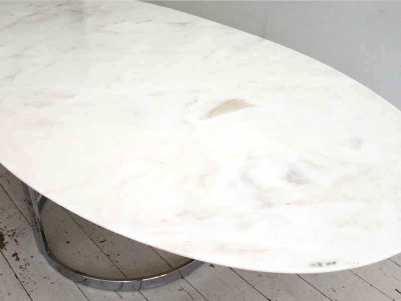1970's Italian Oval Rosa Marble Dining Table with Chrome Base