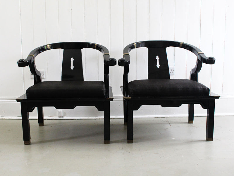 A Pair of 1960's James Mont Horseshoe Lacquered Chinoiserie Armchairs