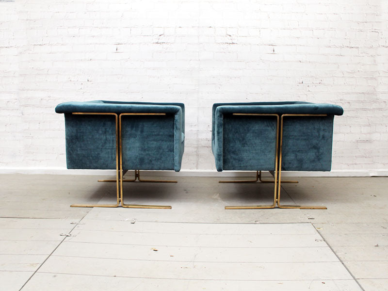Very Rare 1960's Pair of Geoffrey Harcourt for Artifort Armchairs with Brass Frames