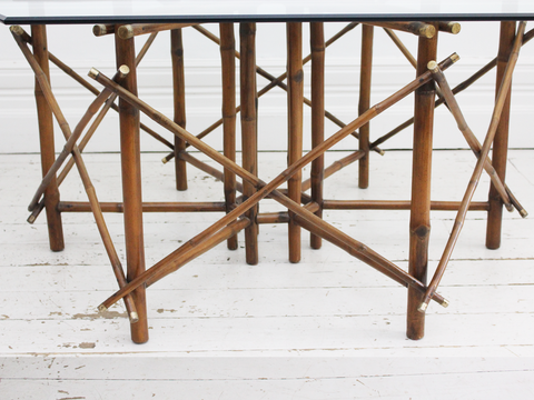 A 1960's John Wisner for Ficks Reed Bamboo, Brass & Glass Hexagonal Dining Table