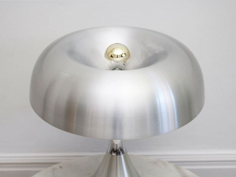 A 1970's Italian Chrome and Brushed Aluminium Mushroom Table Light