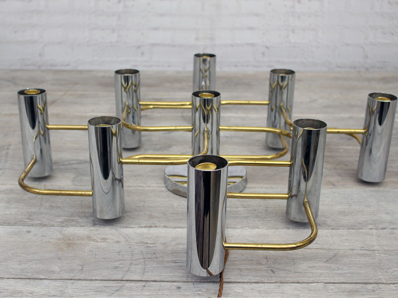 A 1970's 9 Lamp Sciolari Wall Light with Chrome and Brass Detailing