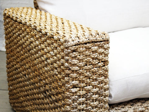 A Large French 1970's Woven Raffia Sofa with White Linen & Feather Cushions