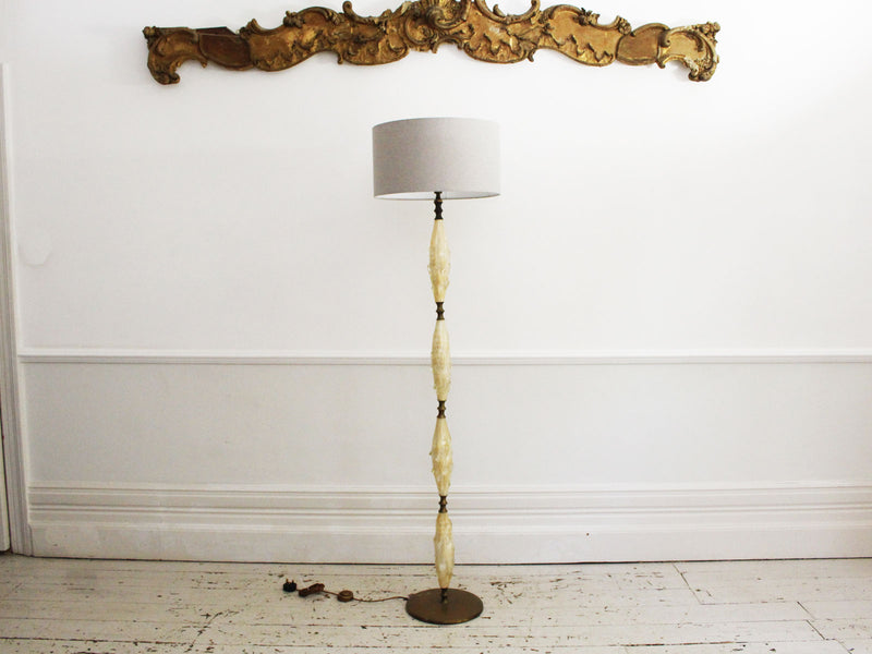 A 1950's Sculptural Murano Glass and Brass Floor Light with Gold Flecks