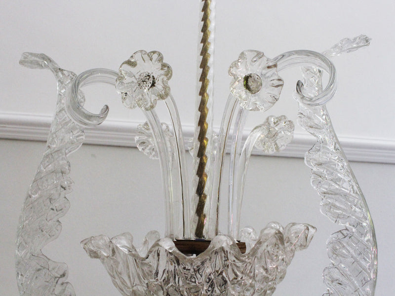 A 1950's Murano Glass Floral Pendant Light