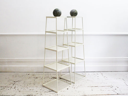 A Pair of 1950's Perforated Modular Obelisk Plant Stands or Side Tables