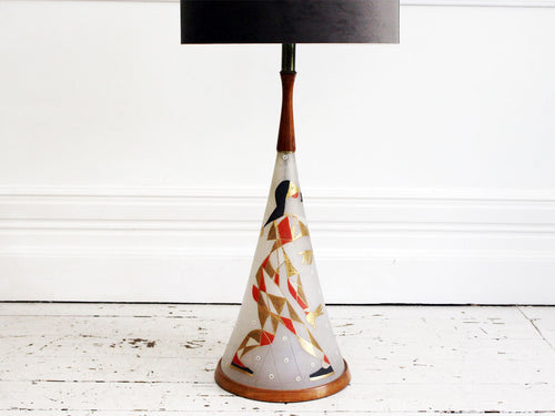 A Rare, Very Large 1950's American Hand Painted Glass Table Light