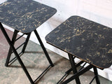 A Pair of 1960's American Marbled Black Folding Occasional Tables