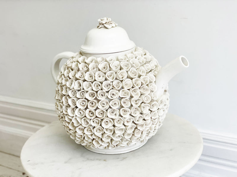 A Rare & Extremely Large Italian Creamware Teapot with Rosette Decoration