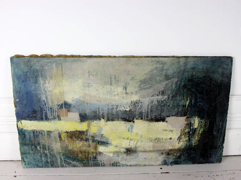 A stunning mid century French abstract oil on canvas landscape