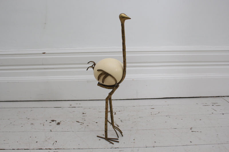 French 1970's Brass Ostrich Sculpture with Ostrich Egg