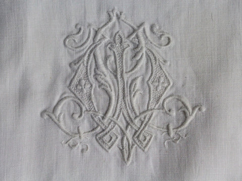 Small Bolster Monogrammed - Antique French White on White Monogram LW WL on Linen Cushion