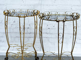 A Pair of 1960's French Gold Side Tables with Glass Tops