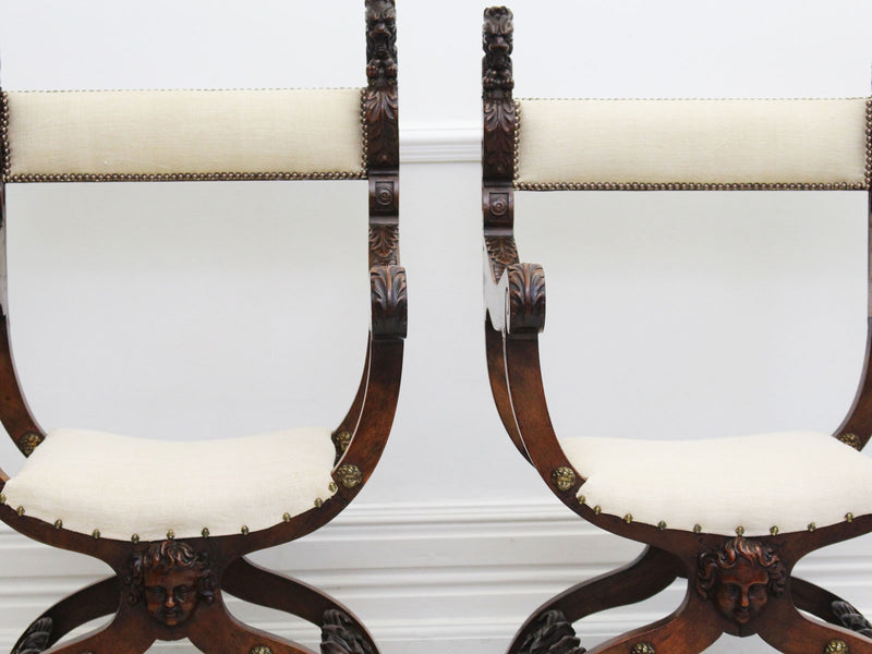 A Pair of 18th C Italian Dante Throne Chairs in the Renaissance Style