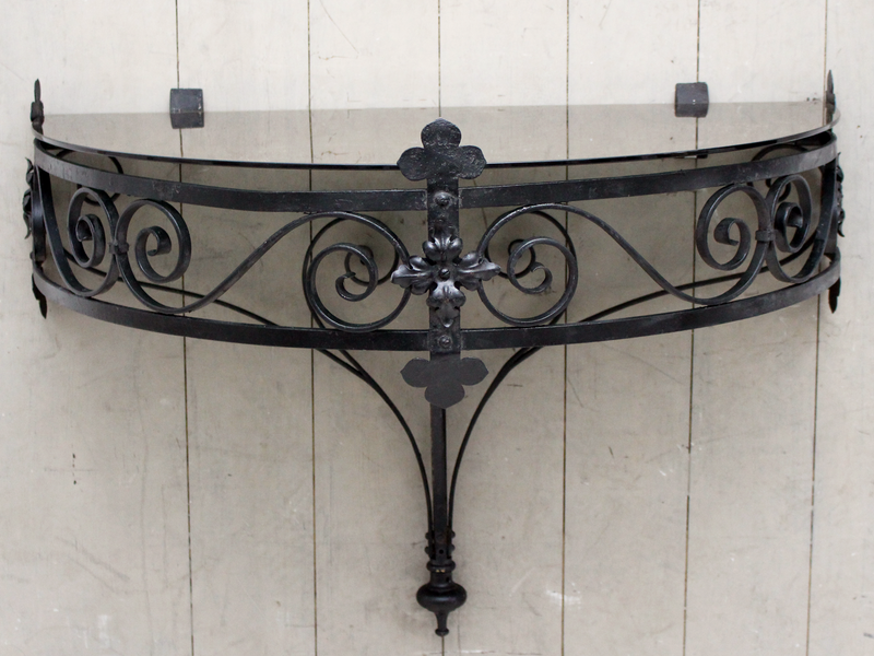 An Antique Pair of Wrought Iron Demi Lune Wall Tables from Kew Gardens