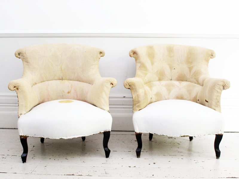 pair of large antique napoleon iii french armchairs