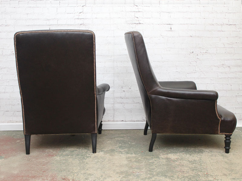 A Very Large Pair of Dark Chocolate Leather Napoleon III French Library Armchairs