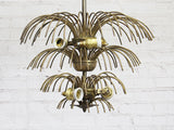 A Pair of French 1950's Brass Waterfall Light Pendants
