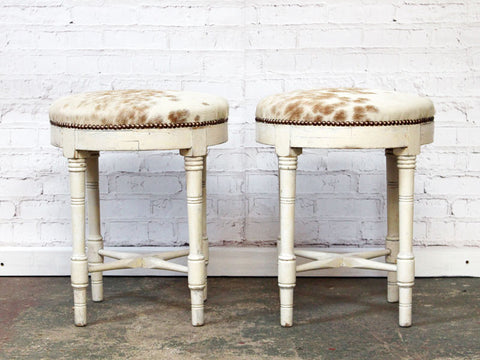 Late 19th C Pair of French White Painted Stools Upholstered in Cowhide