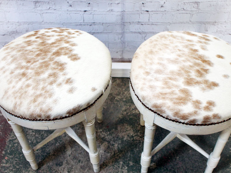French Late 19th C Pair of White Painted Stools Upholstered in Cowhide