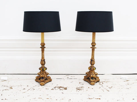 A Pair of 1950's French Wall or Ceiling Lights by Arlus with Original Shades