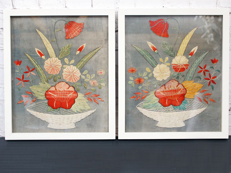 A Pair of 1930's Japanese Red Flower Framed Embroideries on Grey Blue Background