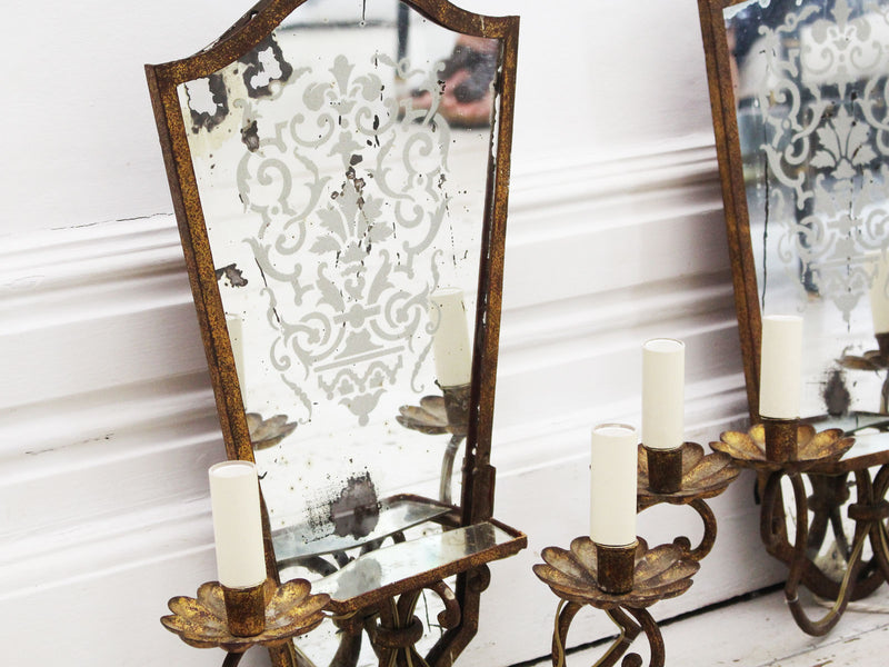 A Pair of French 1940's Eglomise Glass & Gilt Metal Wall Sconces