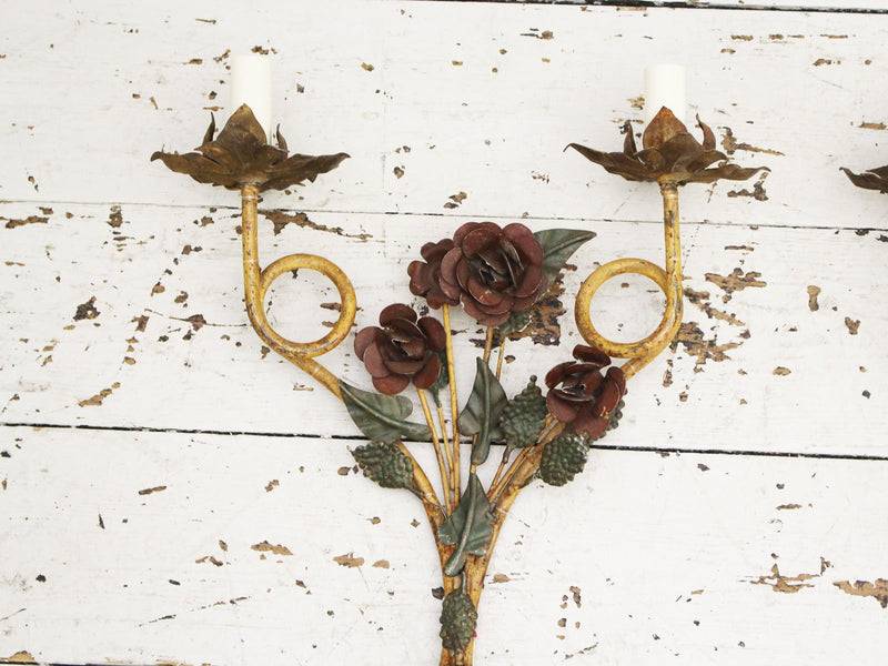 A Pair of Decorative 1940's French Painted Floral Wall Lights