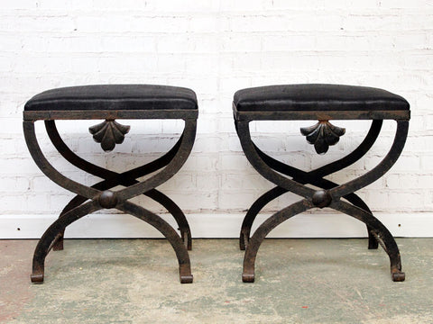 Early 20th C Pair of Upholstered French Black Iron X Stretcher Stools with Shell Detail