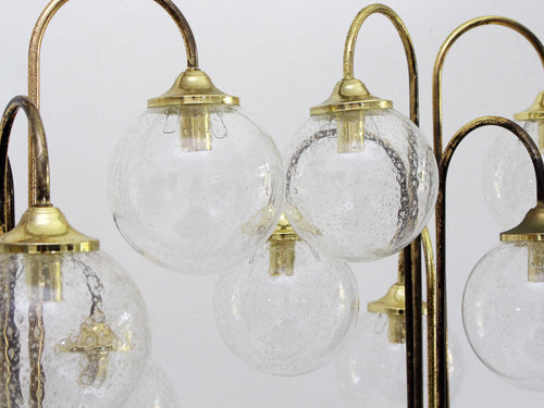 A Pair of Brass 1970's Italian Floor Lights with 5 Glass Globes