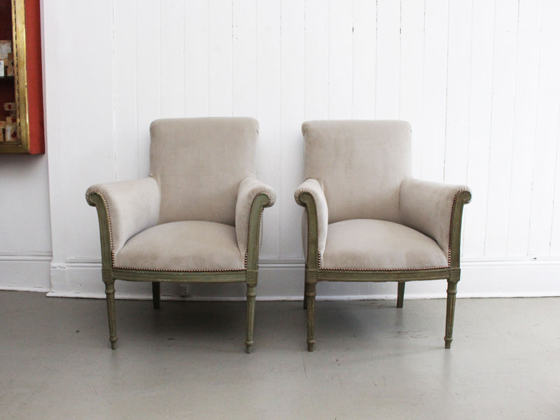 A Pair of Late 19th C Painted Scroll Back Velvet Armchairs