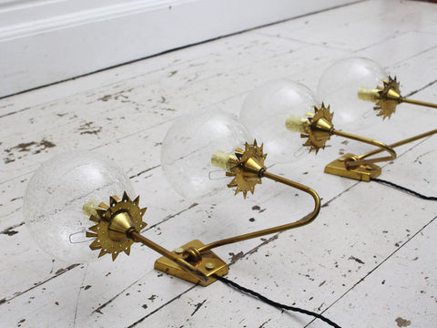 A Pair of Mid Century Gilt Metal Wall Lights in the Shape of Hydrangeas