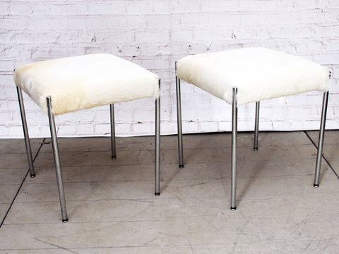A Pair of 1960's Chrome & Cowhide Stools
