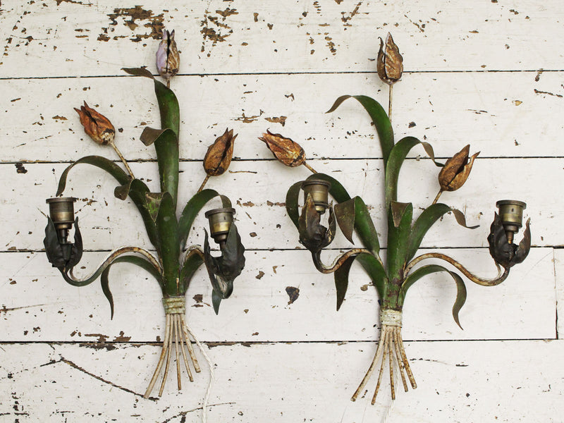 A Pair of Decorative 1950's French Painted Tulip Wall Lights