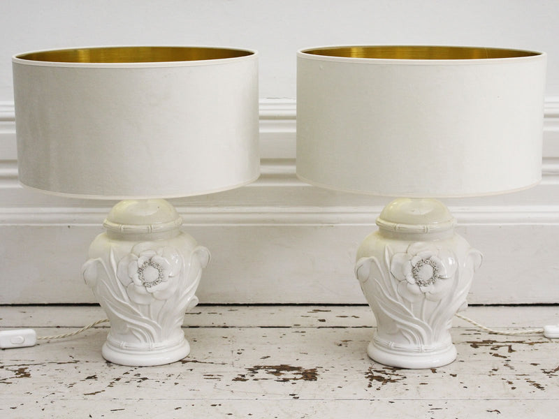 A Pair of Casa Pupo Style 1970's White Ceramic Table Lights