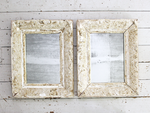 Pair of Antique White Painted French Mirrors