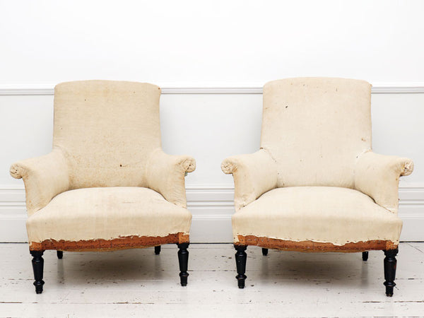 A pair of large Napoleon III French library armchairs