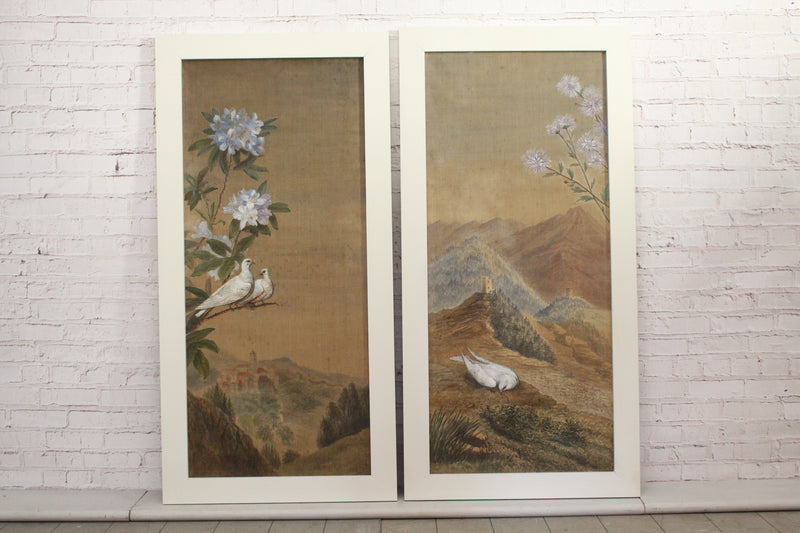 A Pair of 19th C Italian Landscape Paintings on Fabric