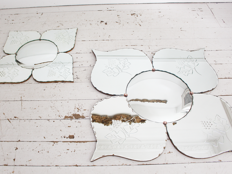 Unique Large Matched Pair of Mid Century French Flower Butterfly Convex Mirrors